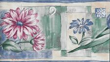 Modern Abstract with Tulips and Daisies in Blues, Pinks &Greens WALLPAPER BORDER