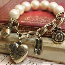 Women Flower Vintage Hollow Heart Retro Pendant Pearl Chain Bracelet Bangle