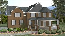 All Brick 2 Story New Home Plan W/Great Porch and Deck