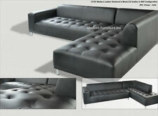 2 pieces set Modern contemporary black Leather Sectional Sofa + chaise #1707