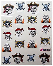 Nail Sticker Piraten Skull,wasserlöslich Tattoos Totenkopf BLE373 Halloween