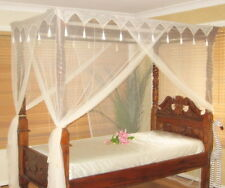 SINGLE Cream / Ivory Bed Net Bed Canopy 4 Poster Bed Style Box Net