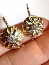 Sweet Antique Victorian Style 14k Yellow Gold .50CT Diamond Leverback Earrings