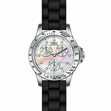 Invicta Speedway Multi-Function Mother of Pearl Dial Black Silicone Mens Watch