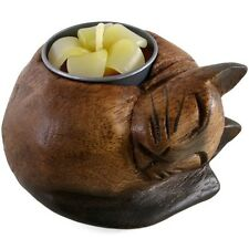 Carved Wooden Cat Tealight Holder + Tealight (K90)