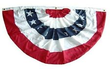 3x6 FT Double Sided Outdoor Fully Pleated US Made American Flag Bunting Half Fan