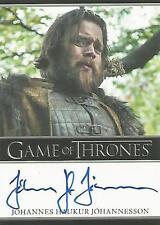 """Game of Thrones Season 6 Johannes Haukur Johannesson """"Lemoncloak"""" Autograph Card"""