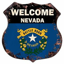 BP-0063 WELCOME NEVADA State Flag Shield Chic Sign Bar Shop Home Decor