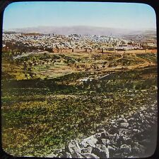 COLOUR Glass Magic Lantern Slide DISTANT VIEW OF JERUSALEM C1900 PHOTO ISRAEL