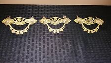 Set  of 3 Vintage Brass Drawer Handles Pulls East Lake Ornate Flowers