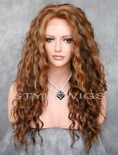 Brown/Blonde/Auburn Mix Long HEAT OK Curly Lace Front Synthetic Wig ABAU 4/27/30