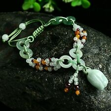 Grade A Jadeite Jade Unique  Bead&Circle Knitted With Rose Bracelet