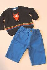 Gymboree Infant Baby Boy 0-3 Months Monster Fun Sweater & Blue Pants Outfit NEW
