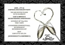 10 Personalised Surprise 25th Silver Wedding Anniversary Party Invitations