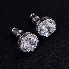 Dazzling Silver Round Crystal Zircon Ear Stud Earrings Wedding Party Charm Women