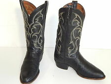 Vtg TONY LAMA Men's Black LIZARD SKIN Cowboy Western EXOTIC Leather Boot 9 D