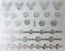 Nail art stickers bijoux d'ongles autocollants: fleurs lignes fleuries - Argenté