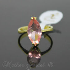 MARQUISE LIGHT PINK CZ STONE YELLOW GOLD PLATED WOMENS RING SIZE 9 R LARGE