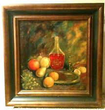 """The Bottle of Wine"" by Henriette Roos, vintage oil on canvas, signed, 1930th"