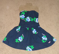 NWT Hollister Women Ladies Sz S Hawaii Hibiscus Aloha Tube Dress Navy