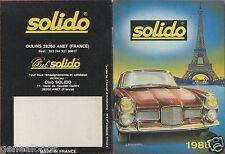 MINI CATALOGUE SOLIDO 1988 PRESTIGE AGE D'OR HI FI MILITAIRE POMPIER HELICOPTERE