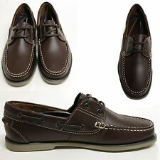 Mens Leather Moccasin Boat Shoes Brown Smart Casual Deck Moccasins Size 6
