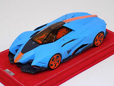 1/18 MR Lamborghini Egoista in Matt Baby Blue with orange stripe Alcantara base