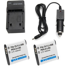 2x 1400mAh LI-50B D-LI92 Battery +Charger for Olympus SP-720UZ SP-800UZ SP-810UZ