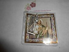 "Saint. Jude -  1 3/4"" x 3/4""  Silver Tone Metal Pocket Statue with case"
