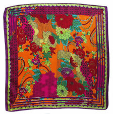 """100% Pure Silk Floral Patterned Multi Coloured Square Scarf 56 x 56cm / 22 x 22"""""""