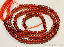 """Micro Faceted Garnet 3.5-4mm Rondelle Gemstone Beads 13.5"""" Strand A++"""