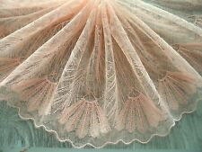 "1Y~7""~ Fasion Lace Trim Embroidered Net Line Design Sew Bridal Dress Dark Salmon"