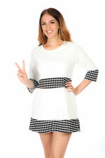 60s Vintage style black & white houndstooth swing dress MOD SCOOTER GOGO