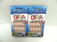 BROADWAY FASHION DIVA HARAJUKA STYLE GLUE ON NAILS 54034 BHFD02 - LOT OF 2