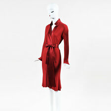 Gianfranco Ferre Red Jersey Satin Trim Pleated Sleeve Belted Long Robe SZ 42