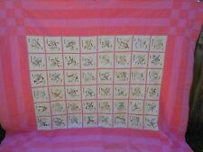 1940-1950 Vintage Embroidered Handsewn State Bird Quilt-pink backing-good cond.!