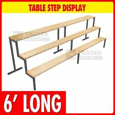 3 Step Display 6ft Long 6in x 6in Steps Table Mounted Market Stalls Shop