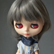 "【Tii】12"" Blythe/pullip Hair doll wig grey fantasy curly middle long not scalp"