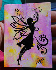 ACEO Sketch Card ORIGINAL Painting FLUO Shadow Fairy Girl Fly Wind PSC 1/1 ART