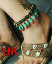 Turquoise red agate brass bronze bell ankle bracelet adjustable with gift bagUK