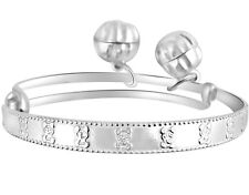 BABY BRACELET ANKLET WITH JINGLE BELLS ENGRAVED TEDDY BEAR 925 STERLING SILVER