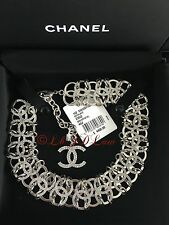 NWT CHANEL $4850 2016 16S CRYSTAL SILVER LINK CHOKER NECKLACE CC AIRLINE RUNWAY