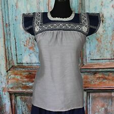 Midnight Blue & Grey Silk Hand Embroidered Mexico San Antonio Wedding Blouse