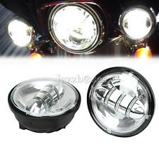 "Motorcycle 4.5"" Chrome LED Auxiliary Passing Lights Lamps For Harley Davidson"