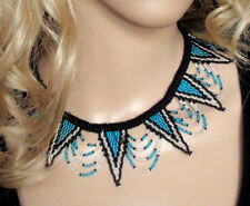 African tribal Zulu beaded jewellery choker necklace blue silver fair trade