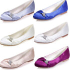 New Round Toe Satin Flat Heel Wedding Bridal Shoes Lady Evening Rhinestone Flats