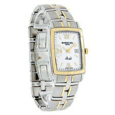 Raymond Weil Parsifal Mens Rectangular 18K Gold 2T/SS Swiss Watch 9340-STG-00307