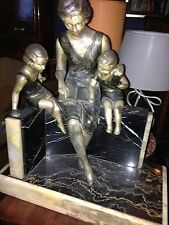 Fabulous Art Deco Statue Sculpture Mother & Children Spelter Marble Onyx Uriano