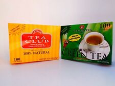 (2 BOXES) Ceylon Tea Club  Green Tea (Black)Tea Bag-100 Staple-Free Bags per Box