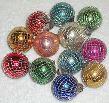 12 Vintage Christmas Mini Feather Tree Glass Ball Ornaments Wrapped in Wire Mesh